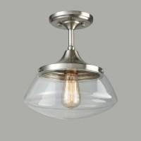 Ecopower Vintage Brushed Nickel Glass Ceiling Light
